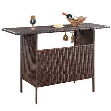 costway outdoor rattan wicker bar counter table shelves garden patio furniture brown 0