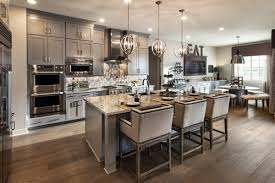 modern grey kitchen decorating ideas using orbital candle kitchen chandelier including studded white velvet