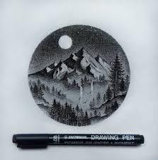 Tattoo Of Mountains Forest Blackwork Dotwork At Gerryade