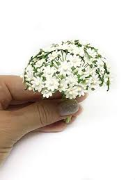 Daisy Paper Flower 1cm White Paper Daisies Mulberry Paper Flowers Miniature Flowers For Crafts Mulberry Paper Daisy Paper Flower Artificial Flowers 50 Pieces