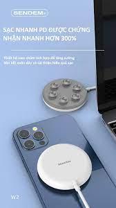 Đê sạc không dây SENDEM W2 hỗ trợ sạc nhanh QC, PD 15W thiết kế nam châm  hút ổn định chắc chắn - Hàng chính hãng - Đế sạc không dây