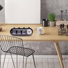 retro flip digital quartz home desk alarm clock day date calendar time display