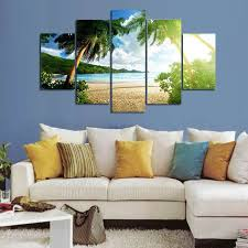 wall art beach palm tree group painting children s room decor print poster picture canvas painting unframed 5 pieces set in painting calligraphy from home