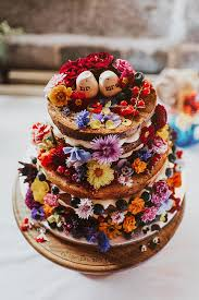 Naked Wedding Cake With Edible Flowers Divine Wedding Cakes