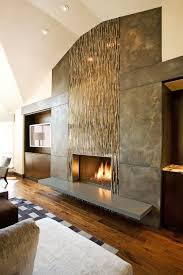 fireplace wall flush wall with glass tile and metal panels with special patina floating