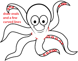 Small Picture How to Draw a Cartoon Octopus with Easy Step by Step Drawing