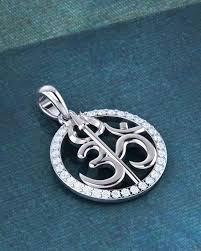 om with trishul designer silver pendant