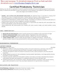 Certified Phlebotomy Technician Resume Template Example ...