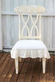 flax linen dining room chair seat cover with ruffle in off white