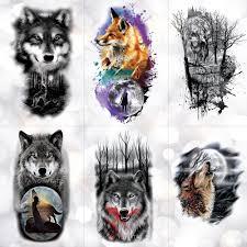 племенной волк луна сосна временные татуировки наклейки фокс водонепроницаемый