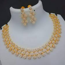 Necklace Design Picture Triple Rows Star Design White Stone Bridal Necklace Gold Plated Jewelry