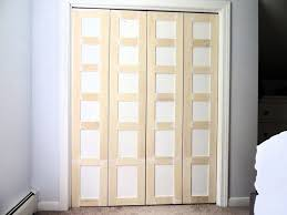foyr white and beige woden folding closet door in square accent