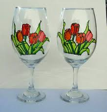 com tulips flowers hand painted stemmed wine glasses 20 oz set of 2 fl kitchen decor handmade