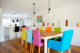colorful dining chairs with wooden dining table
