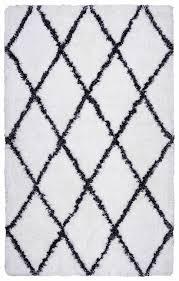 connex soft wool rectangular area rug 5 x 7 6 white black diamond