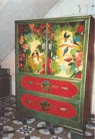 hand painted furnitureBeautiful Painted Furniture Ideas On Large Green Wood Wardrobe