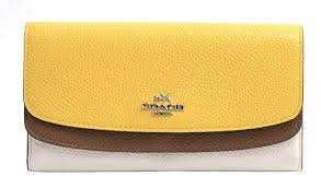 Coach 53858 Chalk Canary Saddle Double Flap Large Wallet
