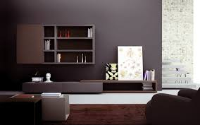 Simple Dark Finish Wooden Storage Systems Living Room Wall Units