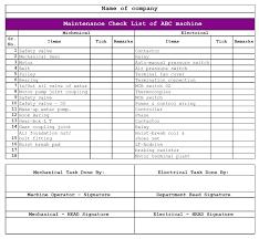 Commercial Building Maintenance Inspection Checklist Excel
