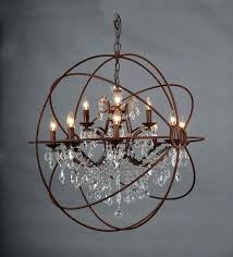 foucaults orb chandelier astounding crystal large round brown iron chandeliers and polished nickel