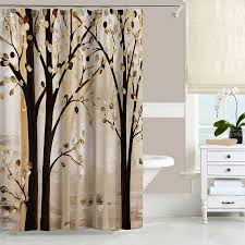 Brown And White Shower Curtain