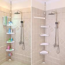Telescopic Shower Corner Shelves Shower Shelf Unit Bathroom Corner Storage Plastic Bathroom Corner 72