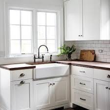 cabinet cup pulls. Unique Cup White Shaker Kitchen Cabinets With Wood Countertops And Farmhouse Sink And Cabinet Cup Pulls T