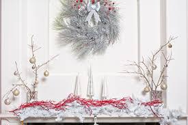 Christmas mantel display with 3-piece glass tree set