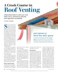 Vent System Pa 1101 A Crash Course In Roof Venting Building Science Corporation