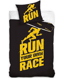 runners single cotton duvet cover set black and yellow