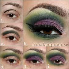 dark heart maleficent eye makeup tutorial in green and purple