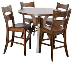 fulton round counter height wood dining 5 piece set