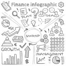 Line Chart Sketch Hand Drawn Finance Vector Infographics With Doodle Charts