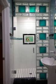 www.california glass tile | Glass block shower wall using 8 x 8 colored  glass