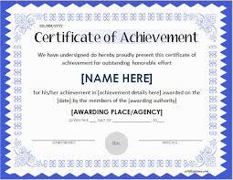 Achievement Certificate Certificates Of Achievement For Word Professional Certificate
