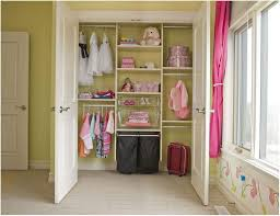 Kids Closet Organization Ideas With White Door And Pink Curtains And