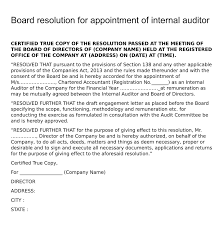 Letter Of Recommendation For Appointment To Board Board Resolution For Appointment Of Internal Auditor Board