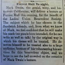 mark twain to deliver a lecture at ldquo forrest hall to night courtesy of the peabody room dc public library
