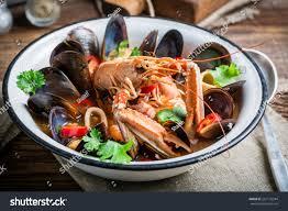 Seafood Soup Mix Shellfish Stock Photo ...