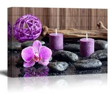 zen stones with purple orchid and calming candles wall decor ation on purple orchid wall art with zen stones with purple orchid and calming candles wall decor ation
