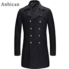 2018 whole anbican 2016 winter black wool coat men luxury brand double ted long cashmere overcoat mens slim fashion pea coat l xl from