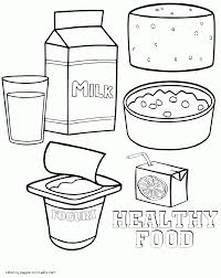 Healthy and unhealthy food coloring pages printable