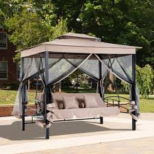 3 person outdoor patio daybed canopy gazebo swing with mesh walls