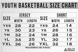 Jersey Size Chart Youth Youth Size Chart For Delta Sportswear Uniforms