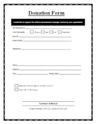 Donation Form A Donation Form Is A Written Document That Is Used