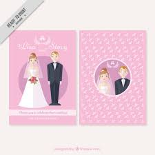 Nice Wedding Couple Card On A Pink Background Vector