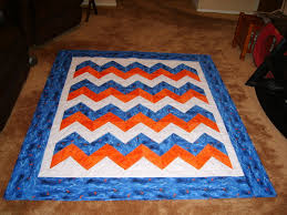 Blue, orange, and white chevron quilt finished & Attached Images Adamdwight.com
