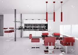 Modern White Kitchen Interior Of Modern White Kitchen With Red Chairs 3d Render Stock