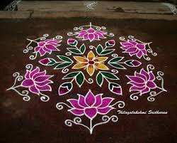 Simple Rangoli Designs With Dots 15 8 This Is A Dotted Lotus Kolam With 15 8 Interlaced Dots