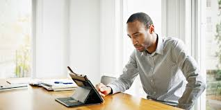 person office. Businessman In Office Working On Digital Tablet Person O